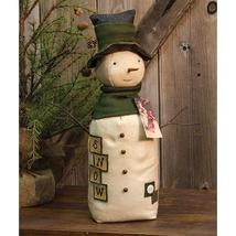 "Primitive Style Oliver Snowman 19-1/2"" w/ Fabric Top Hat Tree Mantel Dis... - $47.99"