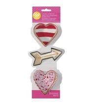 Wilton Heart Cupids Arrow Cookie Cutters Colorful Metal 3 Pc Set - $4.29