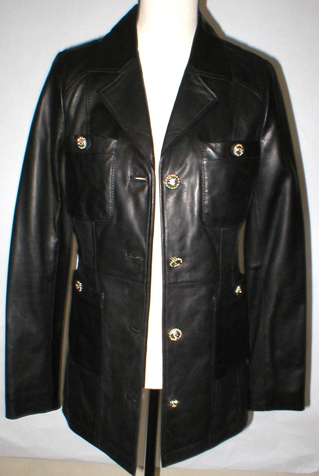 New Womens S Soft Karl Lagerfeld Paris Leather Jacket Black Silver Designer Lamb image 2