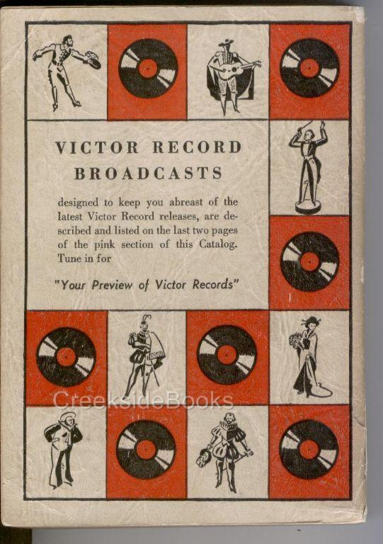 Victor Record Complete Catalog 1939 RCA Red, Black Seal