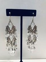 Double Chandelier Earrings  Filigree Clear Bezel Crystals Dangle Hook K745 - $14.24