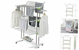 BR505 3-tier Collapsible Clothes Drying Rack with Casters, Stainless Ste... - $141.24