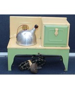 Vintage Toy Stove Green with Tea Kettle and Label - $84.15