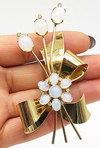 CORO 925 Silver - Moonstone Ribbon Tied Flower Bouquet Gold Brooch Pin - BP2703 - $74.89