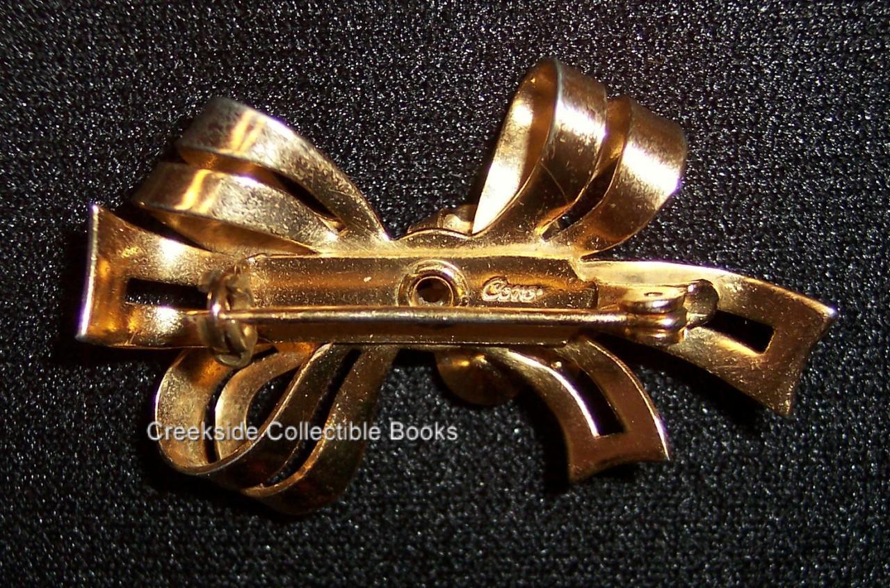Vintage Coro Amethyst & Clear Rhinestone Bow Pin Brooch