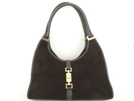 Authentic GUCCI Dark Brown Black Suede Leather Jackie Shoulder Bag purse - $120.93