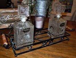 Scotch Bourbon 2 Cut Glass Bottle Liquor Decanter Dispenser Set & Iron C... - $49.49