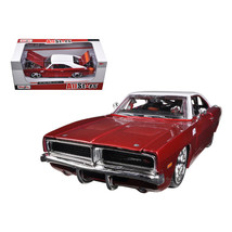 1969 Dodge Charger R/T Burgundy/White 1/25 Diecast Car Model by Maisto 3... - $30.97