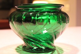 Mid Century Emerald Green Vintage Glass Bowl Planter Cleveland Co. USA - ₹1,378.91 INR