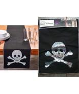 Table Runner Skull &Crossbones Halloween Holographic Silver Sequins Meta... - $15.81