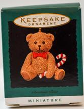 Hallmark  Christmas Bear  Teddy With Candy Cane 1996  Miniature Ornament - $9.17