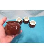 Rego 3 Mini Boston Bean Pot # E916 Brown Stoneware Crock Pottery 1 non b... - $23.83
