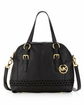 Michael Kors Gladstone Large Black Leather Dome Top Zip Satchel Tote Bag Nwt - $274.54