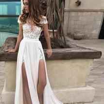 Summer Chiffon Beach Wedding Dress A Line Lace Appliques Double Split Bridal Gow image 3