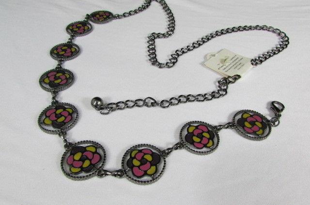 Damen Zinn Metall Bling Gürtel Gelb Rosa Blume Anhänger Hüfte Taille S M L image 2