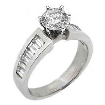 1.5 CARAT WOMENS DIAMOND ENGAGEMENT WEDDING RING ROUND BAGUETTE CUT WHIT... - £2,734.31 GBP