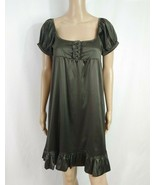 Bershka Zara Empire Babydoll Shirt Dress M Dark Brown Satin Ruffle Dolly... - $7.70