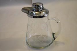 Modern Glass & Chrome Pitcher Jug Spill Proof Lip Diamond Pattern Glass ... - $16.00