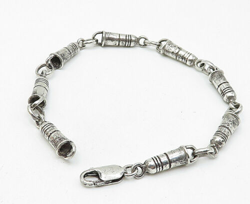 925 Sterling Silver - Vintage Etched Detail Linked Chain Bracelet - B4824
