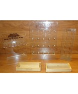 Jewelry Display Stands Clear Plastic Qty 3 Wood Trays Qty 2 - $22.42