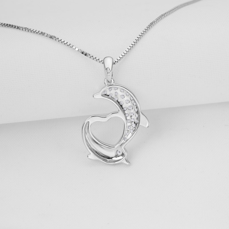 925 Sterling Silver Dolphin Heart Shaped Women Necklace Pendants image 3