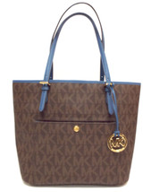 New MICHAEL KORS Brown & Blue Signature Tote Shopper Bag w/ Medallion - $129.00