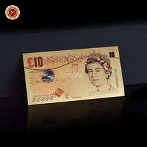 WR Set of Color Gold UK Banknotes 5 Pound - 50 Pounds British Polymer Note Gifts image 8