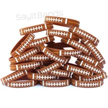 100 Wristbands with FOOTBALL Design Debossed Color Filled Ball Pattern Bands - $48.39