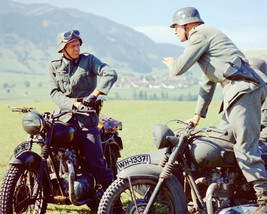 The Great Escape Steve McQueen on Set with Triumph TR6 Bikes 16x20 Canvas - $69.99