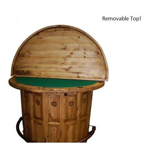 Rustic Half Round Poker Table Bar Solid Wood Green Felt Western Chip Slots