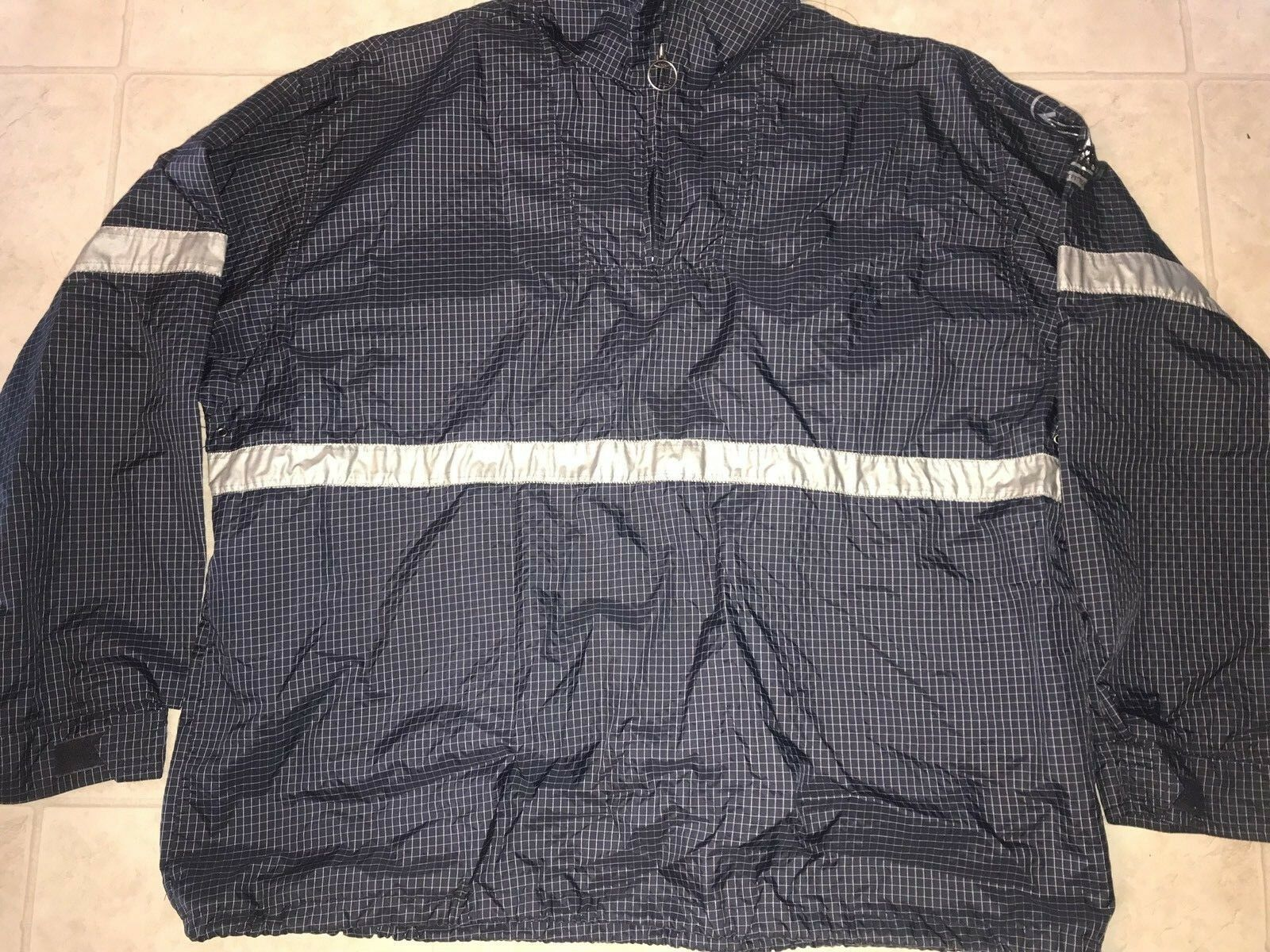 Primary image for American Eagle ~ Vtg Men's Navy Blue Thin Jacket Windbreaker Pullover Plaid  XL