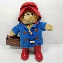 "Rainbow Design Paddington Bear Plush Red Boots Hat Amd Suitcase 14"" Blue... - $29.69"