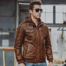 Mens Biker Motorcycle Distressed Brown Bomber Hoodie Leather Jacket - FL100 - $104.99