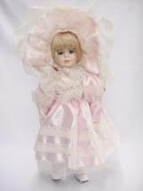 Seymour Mann Connoisseur Porcelain Doll Blonde Blue Eyes Pink Dress w La... - $24.74