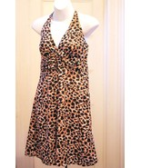 New H&M 8 M Dress Halter Black Brown White Animal Print Sundress Empire ... - $16.63