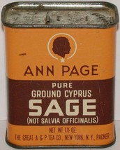 Vintage spice tin ANN PAGE Pure Ground Cyprus Sage cameo woman A and P N... - $9.99