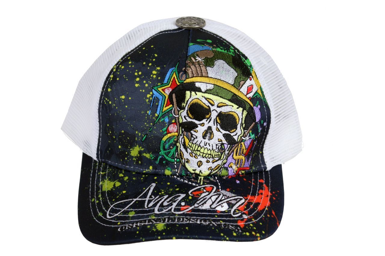 BRAND NEW EMBROIDERED SOLDIER SKULL ADJUSTABLE HAT CAP SNAPBACK BLACK ONE SIZE