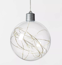 Christmas LED Clear Sphere with 30 Dew Drop String Lights Warm White Silver Wire image 2