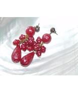 Estate Long Hollow Plastic Fuschia Pink Round & Teardrop Bead Dangle Pos... - $10.39