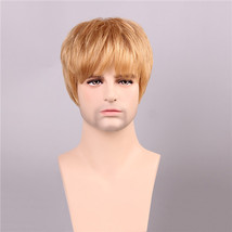 Men Human Hair Wigs Golden Brown with Blonde Short Mono Top Male Virgin Remy Cap - $72.84