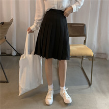Women Black Pleated Skirt Outfit Plus Size Black Tennis Skirt image 2