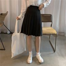 Women Girl Black Pleated Midi Skirt Outfit Plus Size Black Tennis Skirt US0-US16 image 2