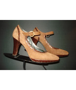 Donald J Pliner Couture Italy Brown Suede/Faux Crock Ankle Strap Heels S... - $51.60