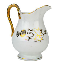 Gold Charming Antique Porcelain Early 1900s JUG English Water Pitcher LS - $52.44