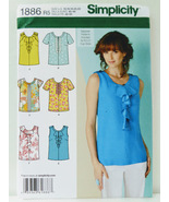 Simplicity 1886 Womens Blouse Top Neck Sleeve Variation Sewing Pattern S... - $12.00