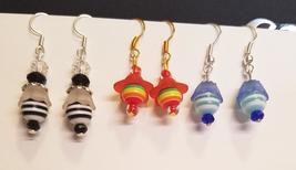 Striped flower bead drop earrings dangles whole... - $5.99