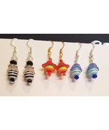Striped flower bead drop earrings dangles wholesale jewelry lot of 3 - $5.99