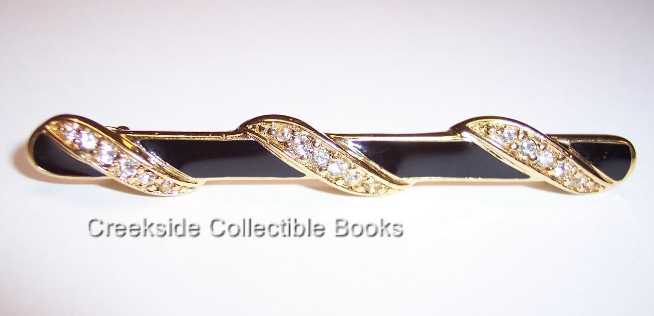 Vintage Trifari Rhinestone Black Enamel Bar Pin Brooch