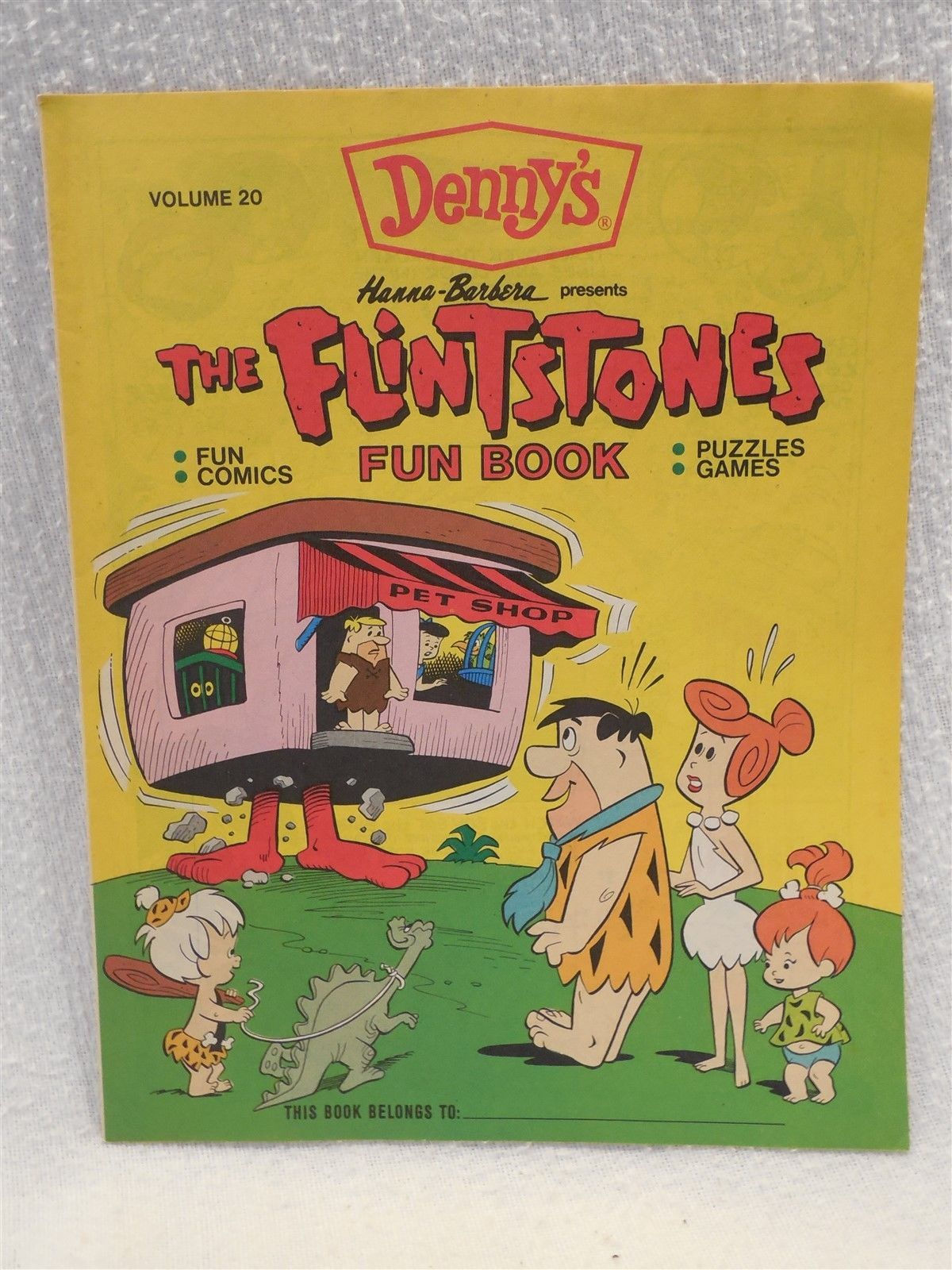 Flintstones 1990 Denny's Unused Fun Book - Comics, Puzzles, Games - Volume 20