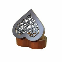 Valentin\'s Heart Shape Vintage Wood Carved Mechanism Music Box Wind Up ... - $35.49